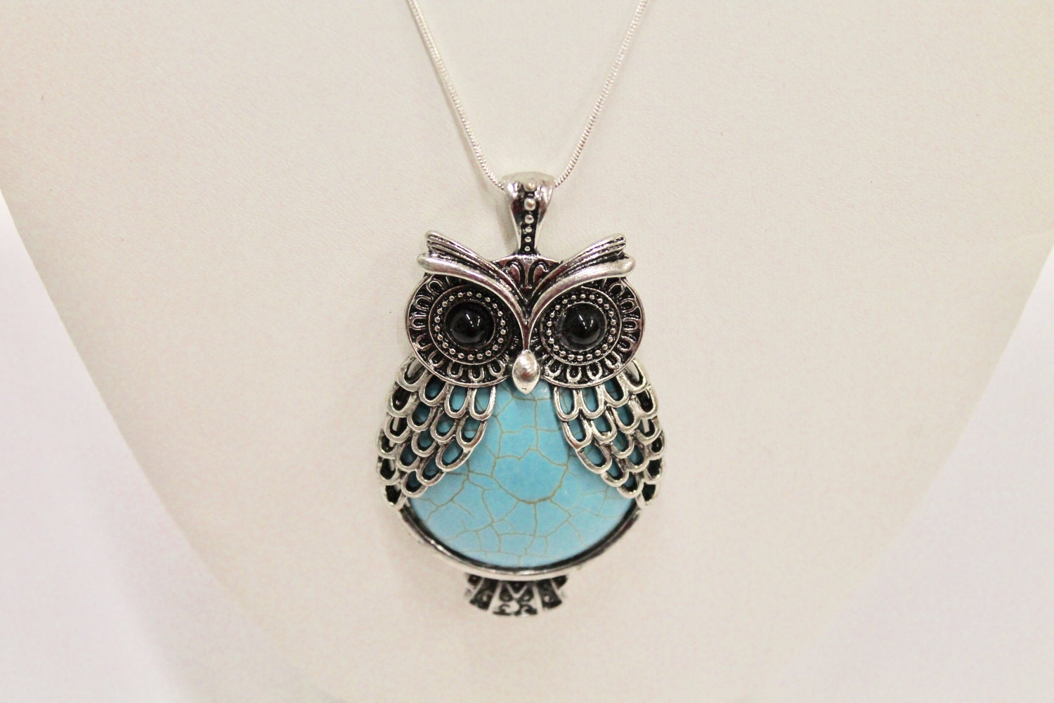4cbf0a88f50d7c Blue And Black Stone Silver Owl Pendant On Sterling Chain