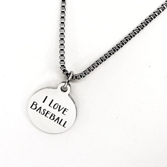 Baseball Necklace, I Love Baseball Necklace, Baseball Player Gift, Stainless Necklace, Son Necklace, Baseball Mom Gift, Box Chain Necklace