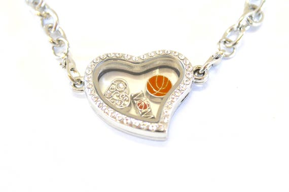 Basketball Mom Floating Charm Bracelet, Gift for Mom, Gift For Her, Basketball Player Mom, Proud Mom Jewelry, Heart Floating Charm Locket
