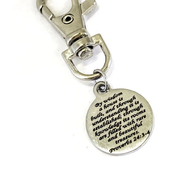 Wedding Gift, Bag Charm, New House Gift, Christian Home Charm, Scripture Bag Charm, Newlywed Gift, Bible Verse Purse Charm, By Wisdom Verse