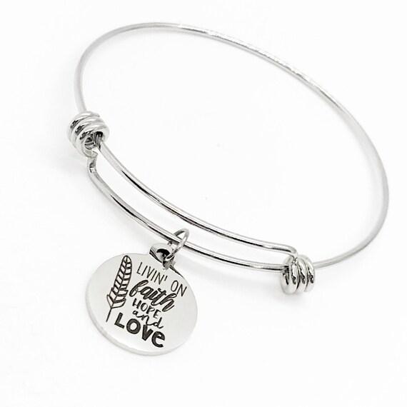 Faith Gift, Livin' On Faith Hope And Love Bracelet, Charm Bracelet, Faith Jewelry, Christian Gift, Faith Charm