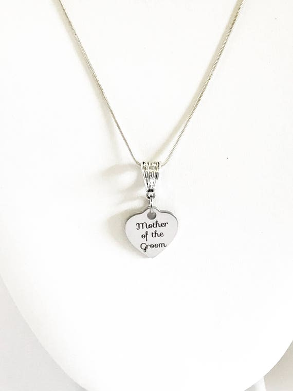 Mother Of The Groom Necklace, Engraved Pendant Necklace, Gift For Mother In Law, Wedding Jewelry, Gift For Fiance's Mother, Mother In Love
