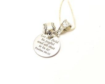 Baseball Let The Field Be Joyful and All That Is In It Pendant on Silver Chain, Psalms 96 12 Bible Verse Jewelry Gift For Her