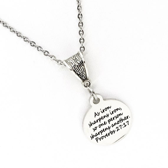 Scripture Gift, As Iron Sharpens Iron Necklace, Proverbs 27 17 Charm, Salvation Verse, Baptism Gift, Faith Gift, Faith Quote, Bible Verse