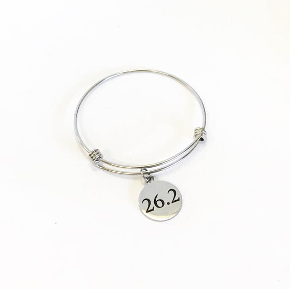 26.2 Marathon Bracelet, Expanding Bangle Charm Bracelet, Stacking Bangle, Stackable Bracelet, Runner Jewelry, Marathon Jewelry Gift for Her