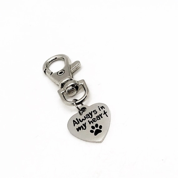 Pet Memorial, Bag Charm, Always In My Heart Bag Clip, Pet Loss Gift, Backpack Charm, Purse Charm, Keychain Charm, Pet Bag Charm, Key Charm