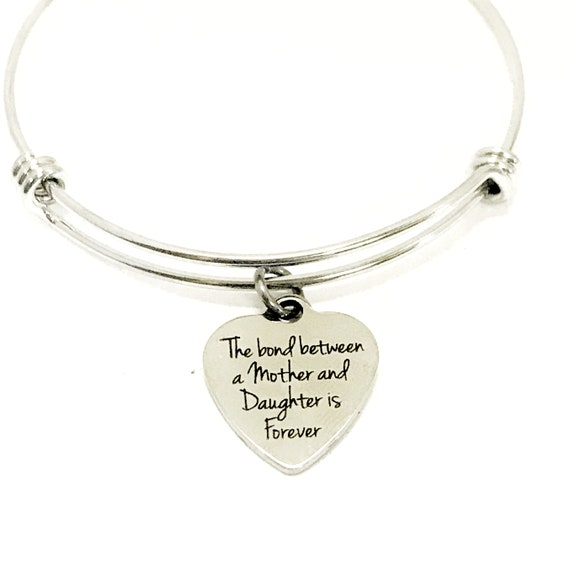 Mother Daughter Gift, The Love Between A Mother And Daughter Is Forever Expanding Bangle Bracelet, Mother Gift, Gift for Mom, Daughter Gift