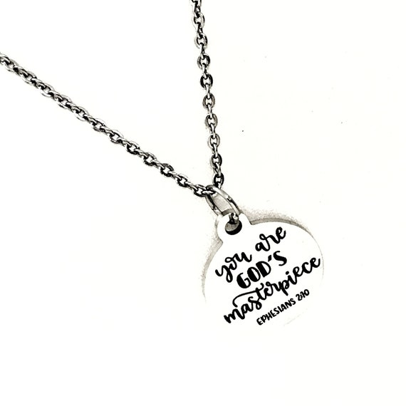 Faith Gifts, You Are God's Masterpiece Necklace, Ephesians 2 10 Christian Gift, Christian Quote, Christian Jewelry, Faith Jewelry