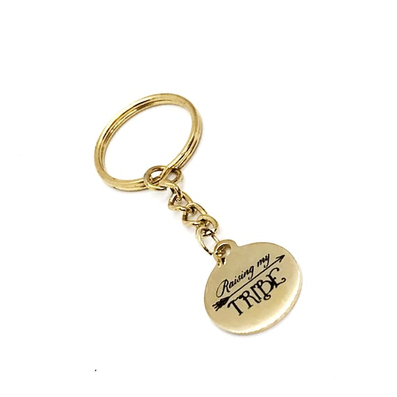 Mom Gift, Raising My Tribe Keychain, New Mom Keychain, Mother's Day Gift, Mom's Group Gifts, Mom of Multiples, Mom Birthday, Wife Gift