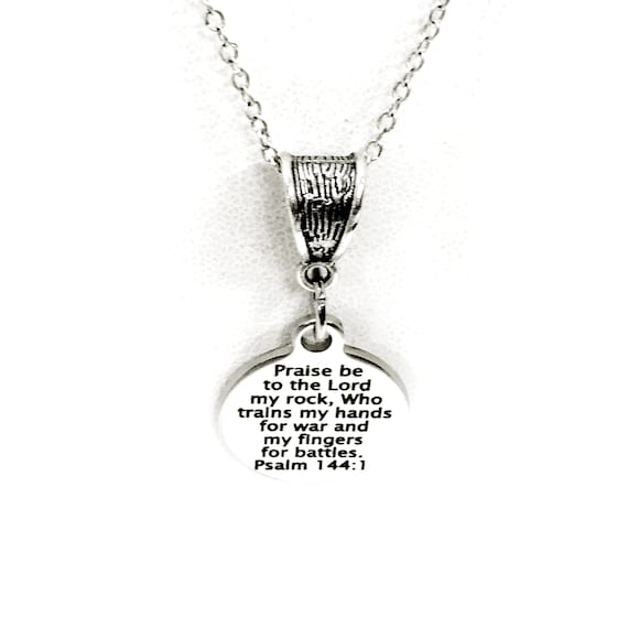 Christian Jewelry, Psalm 144 1 Necklace, Praise Be To The Lord Who Trains My Hands For War Necklace, Christian Necklace, Christian Gift