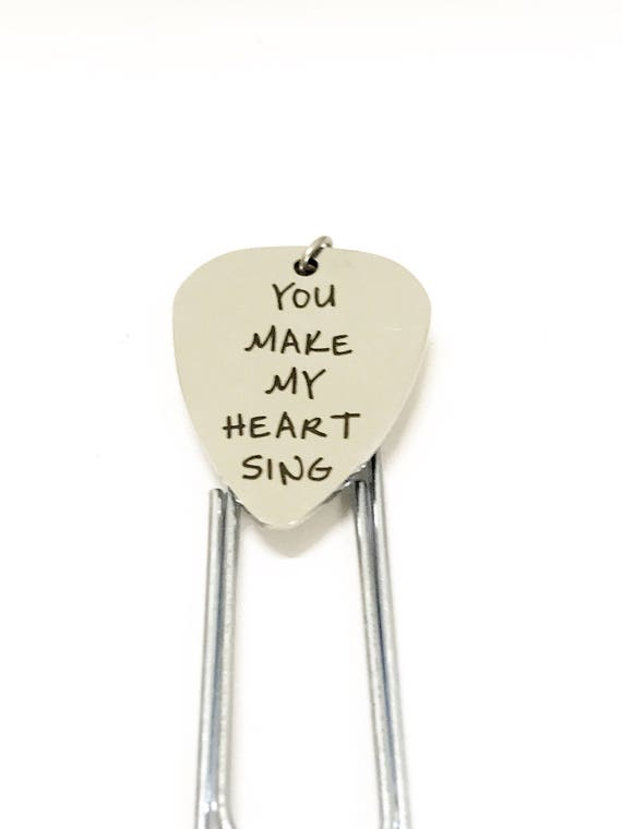 Guitar Pick Bookmark, You Make My Heart Sing Bookmark, Guitar Pick Gifts, Guitar Pick Valentine, Musician Love Gifts, Music Lover Gifts