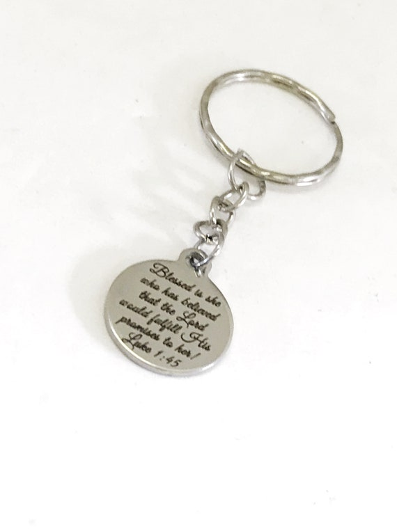 Christian Keychain, God Fulfills His Promise, Women Gift, Luke 1 45 Keychain, Christian Woman Gift, Christian Keyring, Daughter Gift