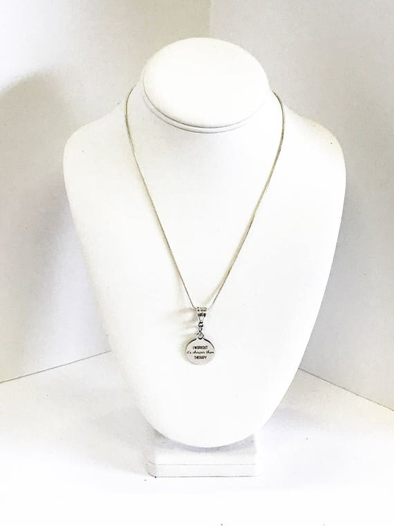 I Workout It's Cheaper Than Therapy Necklace, Workout Jewelry, Love to Workout Girlfriend Gift, Exercise Jewelry, Love to Exercise Gift,