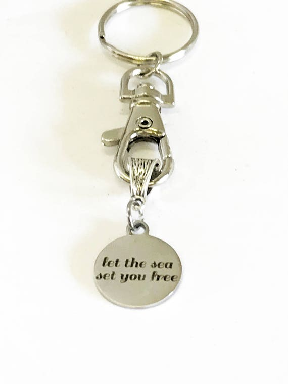 Let The Sea Set You Free Keychain, Beach Trip Gift for Her, Beach Lover Motivational Gift for Him, Girls Trip Gifts, Girls Weekend Away Gift