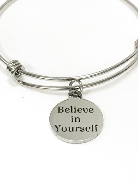 Believe In Yourself Expanding Bangle Charm Bracelet, Stacking Bracelet, Stackable Bracelet, Encouragement Bracelet, Mindfulness Yoga Jewelry