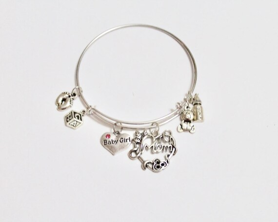 New Mom Expandable Charm Bangle Bracelet, Baby Boy Gift, Baby Girl Gift, New Mother Gift, Baby Shower Gift, New Baby Gift, New Mom Gift