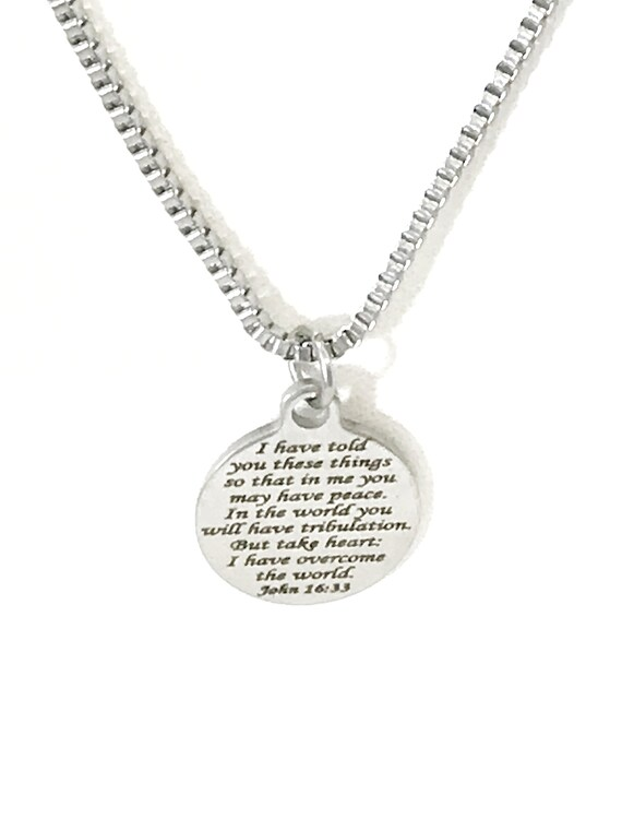 Bible Verse Jewelry, I Have Told You These Things, Bible Verse Necklace, Bible Verse Gift For Him, Christian Jewelry, Scripture Jewelry Gift