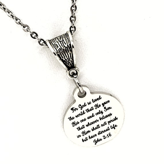 Scripture Gift, For God So Loved The World Necklace, John 3 16 Charm, Salvation Verse, Baptism Gift, Faith Gift, Faith Quote, Bible Verse