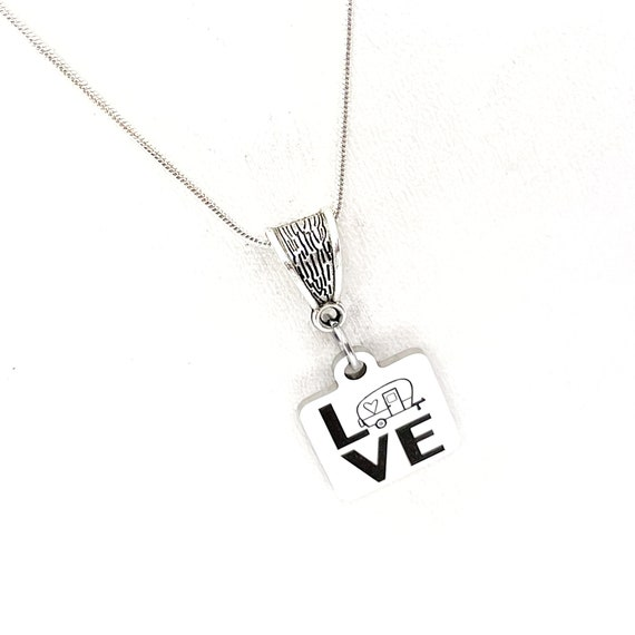 Camping Gift, Love Camping Necklace, Wife Gift, Girlfriend Gift, Camping Lover Gift, Gift For Her, Daughter Gift, Camping Necklace