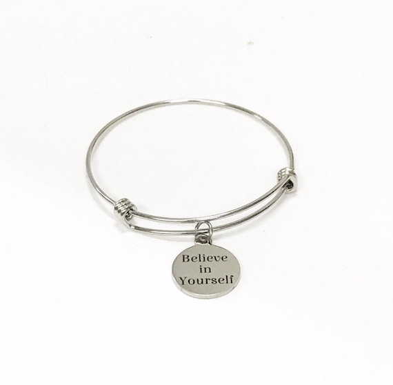 Believe In Yourself Stackable Expanding Bangle Charm Bracelet, Encouragement Gift For Her, Motivational Stacking Bracelet, Direct Sales Team