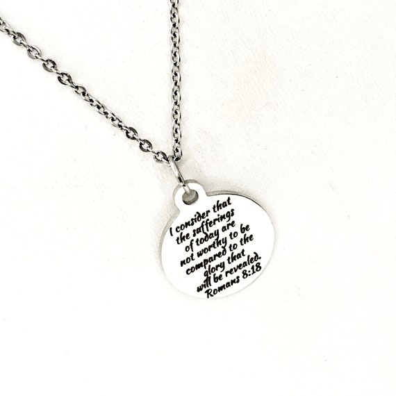 Scripture Gift, Sufferings Of Today Necklace, Glory That Will Be Revealed,  Romans 8 18 Gift, Bible Verse Gift, Scripture Jewelry