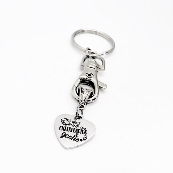 Cheerleader Gift, Christian Cheerleader, This Girl Runs On Cheerleading And Jesus Keychain, Keychain Gift, Cheerleader Keychain, Cheer Squad