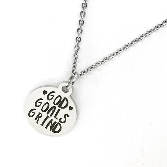 Motivating Gift, God Goals Grind Necklace, Woman Entrepreneur Gift, Christian Woman Gift, Motivating Jewelry, Motivating Quote, Direct Sales
