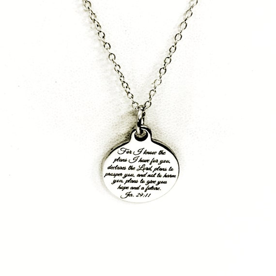 Christian Jewelry, For I Know The PLans I Have For You Necklace, Jeremiah 29 11 Scripture Jewelry, Christian Gift, Bible Verse Jewelry