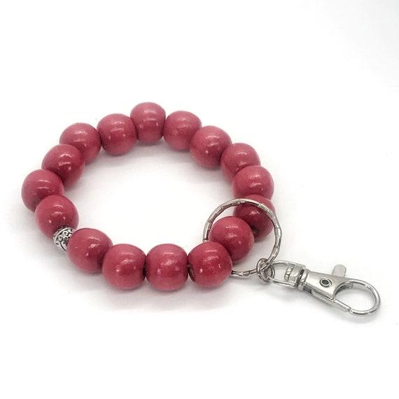 Beaded Keychain Bracelet, Wood Bead Keychain Bracelet, Beaded Bracelet, Red Beaded Keychain, Teacher Gifts, Keychain Gift