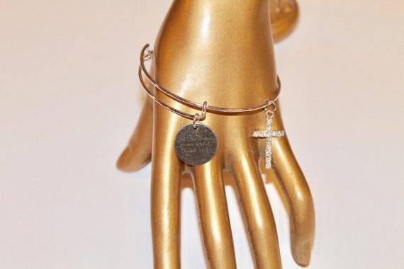 By His Stripes We Are Healed Cross Charm Isaiah 53:5 Expanding Bangle Bracelet, Bible Verse Jewelry, Get Well Gift, Gift For Her, Wife Gift