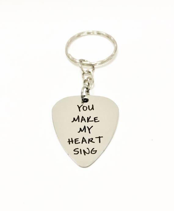 Guitar Pick Keychain, You Make My Heart Sing Keychain, Guitar Pick Gift, Guitar Pick Valentine Gift, Music Lover Gift, Music Lover Keychain