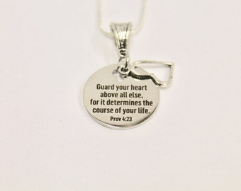 Guard Your Heart Prov 4:23 Circle Pendant on Silver Chain, Bible Verse Jewelry, Gift For Her, Girlfriend Gift, Religious Jewelry