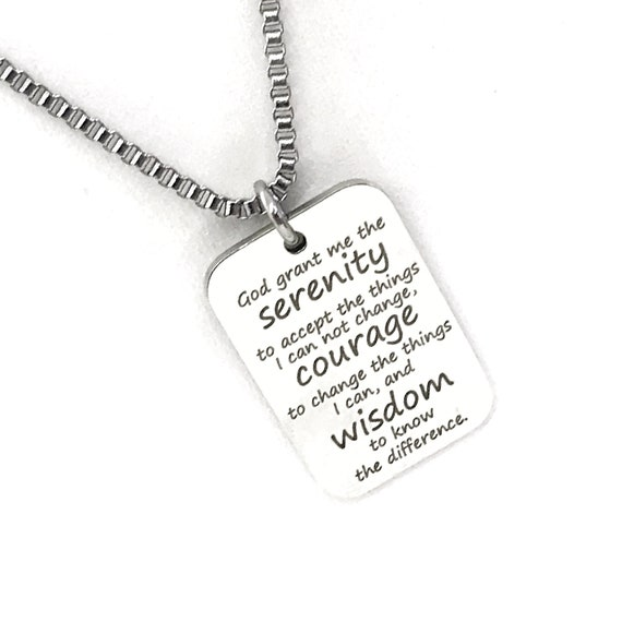 Serenity Prayer Necklace, Man Necklace Serenity Prayer Charm, Dogtag Necklace, Serenity Prayer DogTag, Gift For Him, Stainless Steel