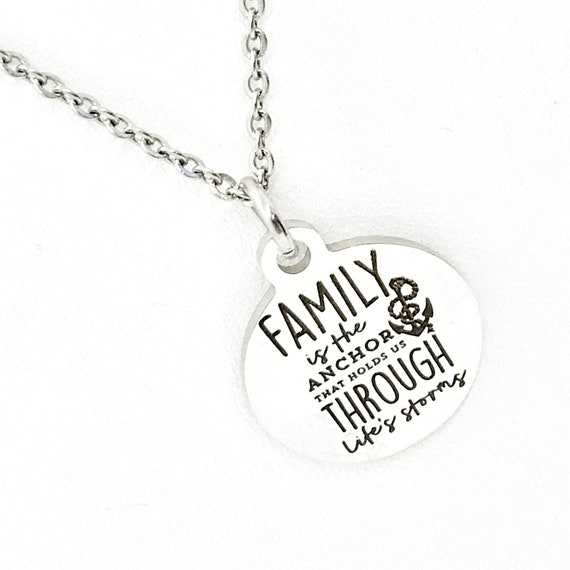 Family Necklace, Family Is Our Anchor Necklace, Family Jewelry, Mom Necklace, Sister Necklace, Gift For Her, Family Holds Us Through Storms