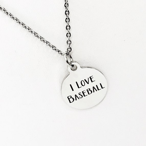 Baseball Necklace, I Love Baseball Jewelry, Baseball Player Necklace, Baseball Mom Gift, Baseball Player Gift, Stainless Necklace