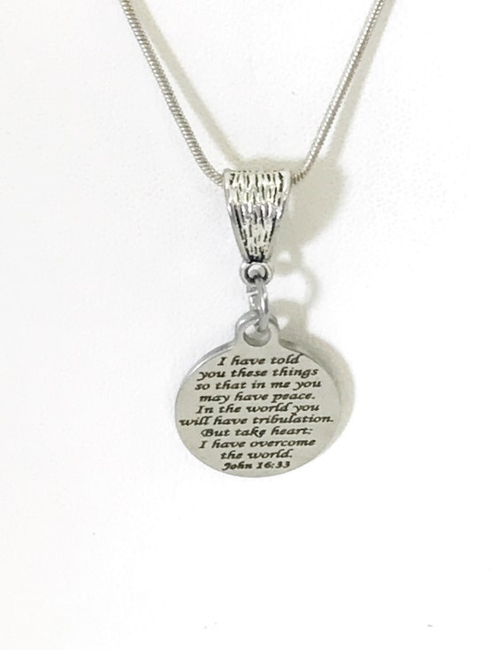 Christian Gift, Christian Jewelry, Christian Necklace, Peace In The Lord Gift, Bible Verse Gift, He Has Overcome The World, Scripture Gifts