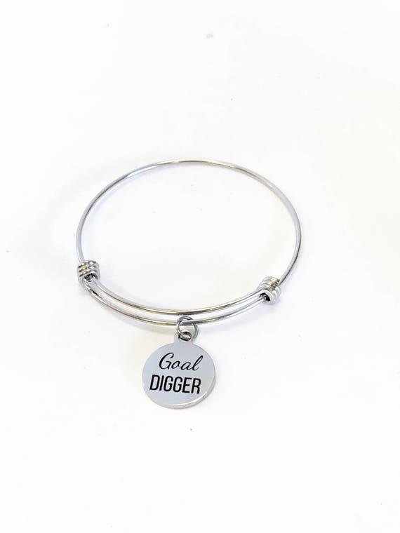 Goal Digger Expanding Bangle Charm Bracelet, Stacking Bracelet, Stacking Bangle, Stackable Bracelet, Direct Sales Team Success Gifts For Her