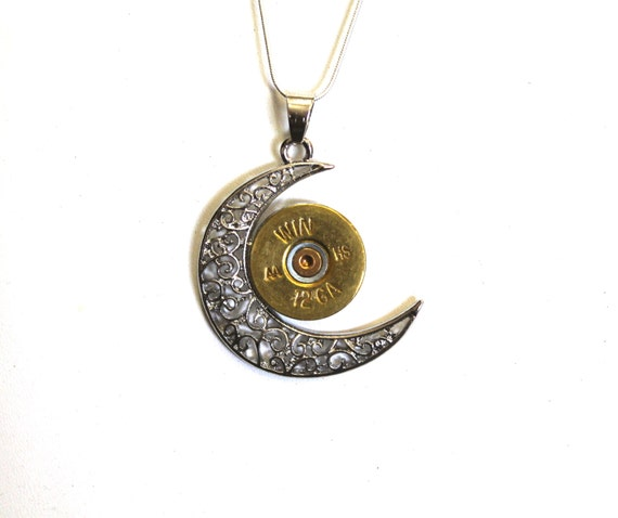 12 Gauge Shotgun Shell Crescent Moon Pendant on Silver Necklace; Shotgun Shell Jewelry; 12g Shotgun Shell; Gift For Her; Shooting