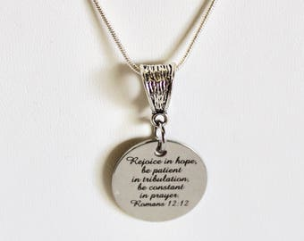 Rejoice In Hope Romans 12 12 Pendant Silver Pendant Necklace, Bible Verse Jewelry, Christian Jewelry Gift, Girlfriend Jewelry, Gift For Her