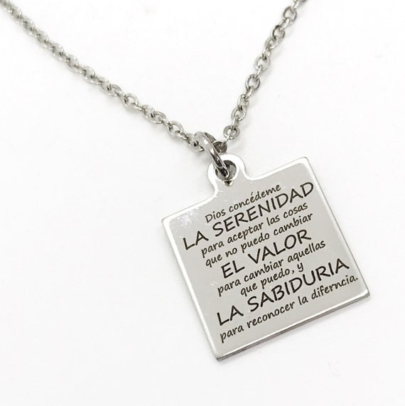 Charm Bracelet, Spanish Serenity Prayer Bracelet, Serenity Prayer Charm, Spanish Jewelry Gift, Stainless Charm Bracelet, Serenity Prayer