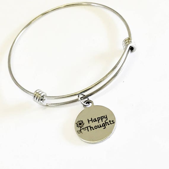 Happy Thoughts Stacking Bangle, Happy Thoughts Bracelet, Encouraging Jewelry, Happy Gifts, Sympathy Gifts, Motivational Jewelry Gift For Her