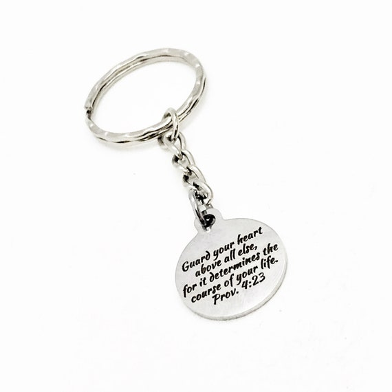 Faith Gift, Guard Your Heart Keychain, Proverbs 4 23, Faith Keychain, Christian Gift, Baptism Gift, Graduation Gift, Son Gift, Daughter Gift