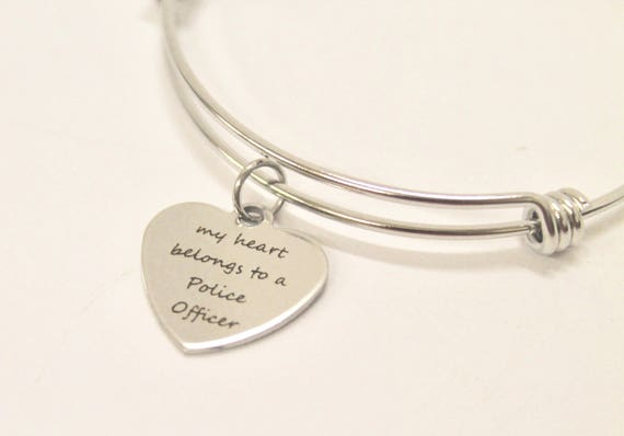 My Heart Belongs To A Police Officer Expanding Bangle Charm Bracelet, Police Wife Gift for Her, Jewelry Gift Bracelet, Gift For Wife