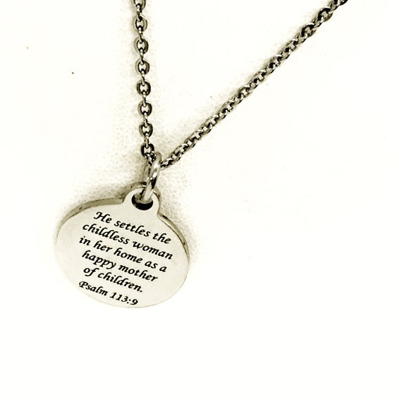 Christian Gift, He Settles The Childless Woman Necklace, Christian Jewelry, Christian Infertility Comfort Gift, Scripture Adoption Gift
