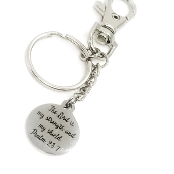 Christian Keychain, The Lord Is My Strength And My Shield Keychain, Christian Gift, Christian Charm, Keychain Clip, Psalm 28 7 Charm
