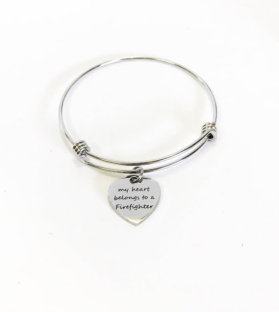 My Heart Belongs To A Firefighter Expanding Bangle Charm Bracelet, Stacking Bracelet, Stackable Bangle Gift For Her, Firefighter Wife Gift