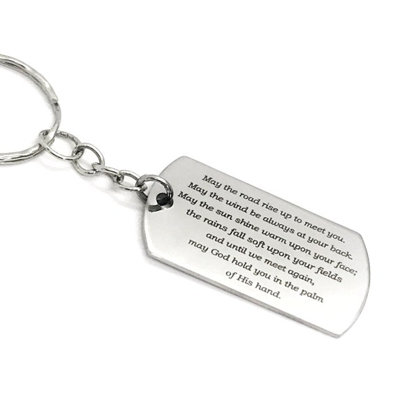 Irish Blessing Keychain, Irish Blessing Gift, Going Away Gift, Keychain Gift, May The Road Rise To Meet You, Graduation Gift, Moving Away
