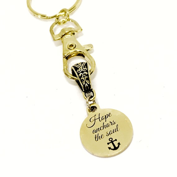 Christian Keychain, Hope Anchors The Soul Keychain, Christian Charm Keychain, Christian Gift For Her, Religious Gifts, Christian Hope