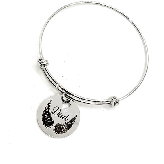 Dad Memorial, Dad Is my Angel Bracelet, Charm Bracelet, Stacking Bangle, Remembering Dad, Love My Dad, Sympathy gift, Gift For Her