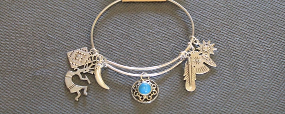 Southwestern Style Expandable Charm Bracelet, Turquoise and Silver Charms, Feather Charm, Southwestern Style, Country Western Style